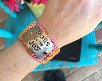 Religious Bracelet, Inspirational Christian Gift for Women, Colorful Hand Stamped Bracelet, Jesus is my Joy Knit Pink Cuff Bracelet