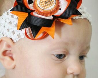 Halloween Hair Bow - My First Halloween Headband - Newborn Halloween Headband - Black Orange Hair Bow - Newborn Hair Bow - Infant Hair Bow
