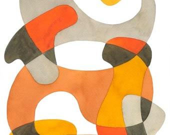 Abstrait Art Print Poster «Swirling» Mid Century Modern grande impression décor Orange jaune marron gris 8 x 10