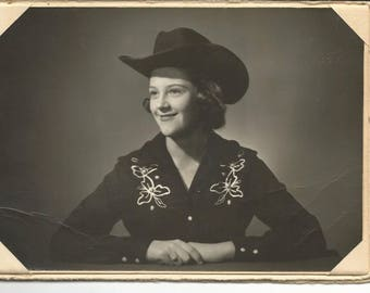 Vintage 1940's Cowgirl Photograph 5x7