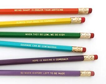 Michelle Obama Personalized Pencil set - Inspirational pencil set - Feminist pencil set - When they go low, we go high pencil set