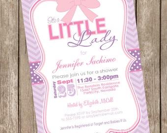 It's a little lady girl baby shower invitation, pink, purple, chevron, printable invitation 12345