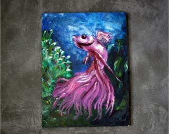 """FREE SHIPPING,Pink Fish, Oil painting 17""""x23"""",Wall Art, Hand Painted, Original oil painting on canvas,Bright Colors, Gift For Girlfriend"""