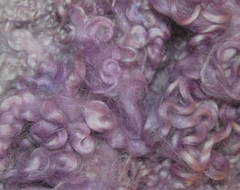 Hand Dyed Cotswold Wool Locks for Spinning, Felting and Doll Hair, in Shades of Pastel Lilac, Dusty Rose  1 oz.