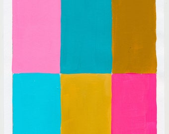 Geometric Abstract Painting, 10 x 7, Pink & Blue, NY1749