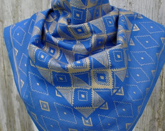 Vintage blue bronze geometric print cotton square scarf large bandana