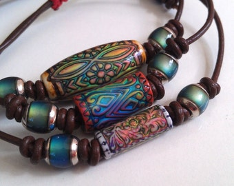 Bohemian modern tribal Mirage Colour Changing  Leather  Wrist Adornment