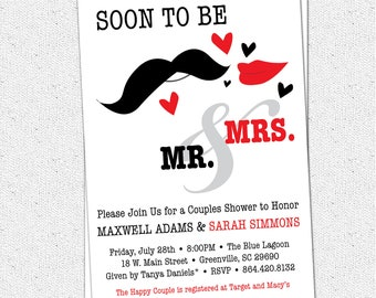 Printable Bridal Shower Invitation, Soon to be Mr and Mrs, Couples, Mustache Bash, Red and Black,  DIY Digital File