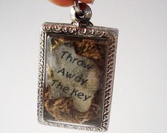 Throw Away the Key Terrarium Locket Necklace, Mini Curio Display, Natural World LK11