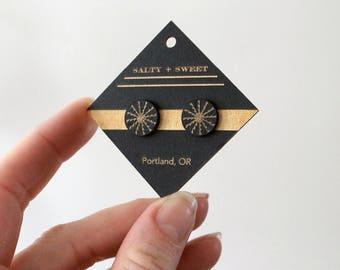 Laser cut earring | STUD: Black Radiant