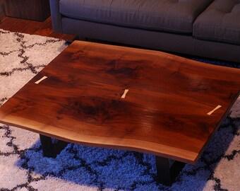 Live Edge Coffee Table - WIDE - Walnut - reclaim wood slabs - steel legs