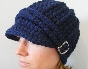 Womens Hat Navy Blue Hat Navy Hat Womens Beanie Navy Beanie Blue Beanie Womens Cap Navy Cap Blue Cap Silver Buckle Winter Hat Warm Trendy
