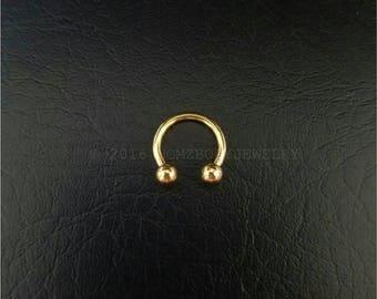 """Gold Small Septum Horseshoe Ring 16g 5/16"""" 3/8"""" 14g 5/16"""" 3/8"""" Daith Snug Orbital Helix Tragus Lip Ring 316lvm Steel"""