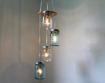 Mason Jar Chandelier Light, Spiral Mason Jar Pendant Lighting Fixture, Rustic Farmhouse Mason Jar Lamp, BootsNGus Lights, Bulbs Included
