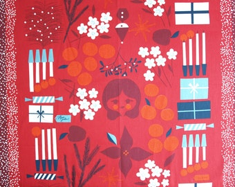 Tablecloth red gifts candles flowers Scandinavian Design , runner , napkins , curtains , pillows available, great GIFT