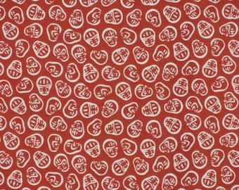 Japanese Tenugui 'Red Daruma' Fabric Japanese Cotton Gauze w/Free Insured Shipping