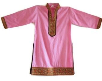 Ethnic embroidered kurta BOHO dress HIPPIE Indian girl's tunic Pink Tribal dress Festival girls dress patterned shirt