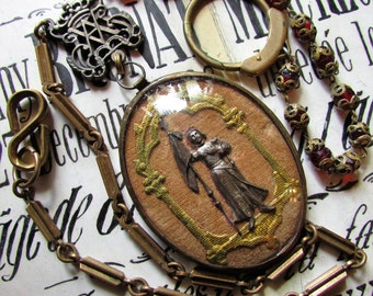 Antique Joan of Arc necklace ex voto bubble glass relic reliquary glass brass capped rosary beads one of a kind Madonna Enchanted assemblage