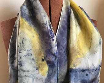 Starry Starry Night - Handpainted naturally dyed silk scarf - unique, one of a kind, plant dyed eco friendly fashion. 006