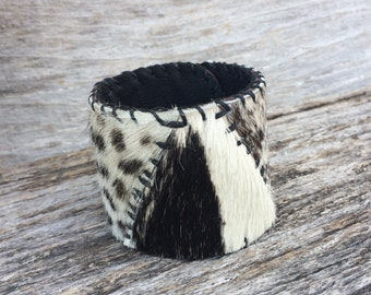 "Leather Cuff Handmade with 3 Hair On Cowhides and Black Leather Size 7.25"" to 8"" by Stacy Leigh"