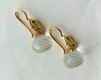 18kt Vermeil And Faceted Rock Crysal Earrings
