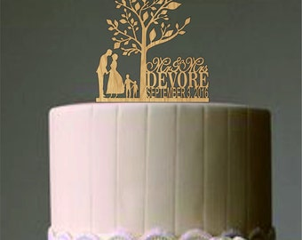 Family Wedding Cake Topper with girl a dog, Rustic Wedding Cake Topper, Personalized Wedding Cake Topper, Unique wedding cake topper