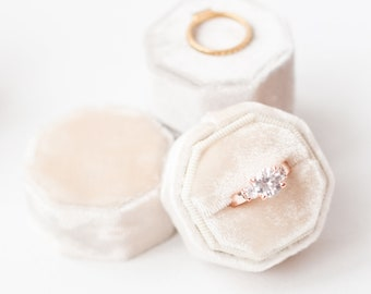 Velvet Ring Box - Vintage - Proposal - Engagement - Personalized Gift - Octagon - Pearled Ivory