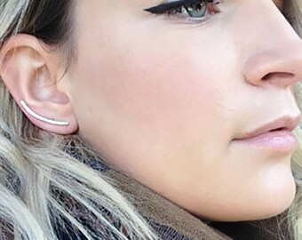 Minimalist Sterling Silver Ear Climbers, Simple Silver Ear Cuff, Sterling Silver Ear Crawlers, Ear Sweep, Silver Jewelry