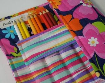 Pencil Roll Case - Flowertopia, Roll-up case, Pencil holder, organizer