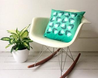 Tulip Luxury Velvet Cushion Cover in Aqua Green