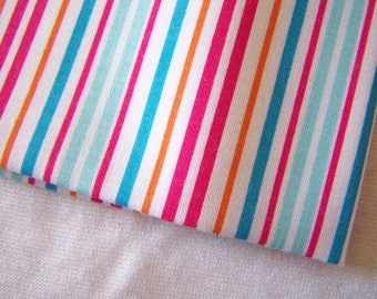 Coupon of fabric, cotton, striped blue-pink-orange (T-19)