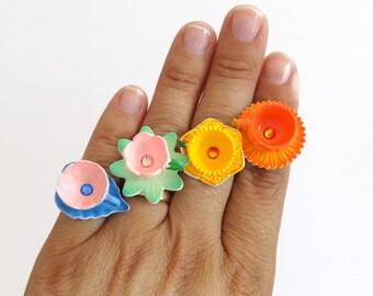 Clora - miniature flower teacup ring - pumpkin teacup - miniature tea cups - flower teacup ring