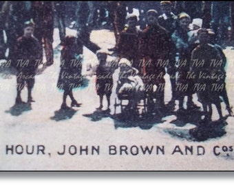 Scotland History : Scottish Shipyard, Vintage Postcard,Dinner Hour JOHN BROWN Shipyard Clydebank