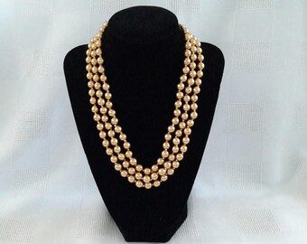Vintage Three Strand Goldtone Simulated Glass Pearls Necklace