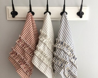 Decorative Hand Towels With Ruffles | Gray Red Navy Blue Black Brown