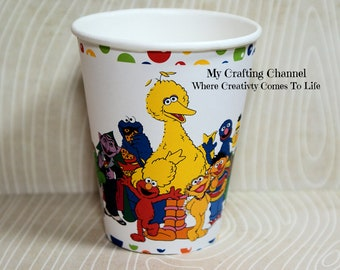 Set of 12 Sesame Street Birthday Party Cups,Sesame Street,Party Birthday Cups,Party,Birthday,Cups