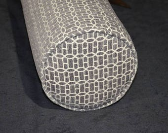 """Round Bolster Pillow Cover 8"""" Round X 30"""" long. Gateway-Chenille-Grey."""