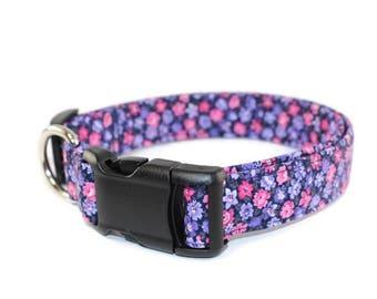 Flower Dog Collar, Fabric dog collar, Handmade dog collar, Purple dog collar, Girl dog collar, Floral dog collar