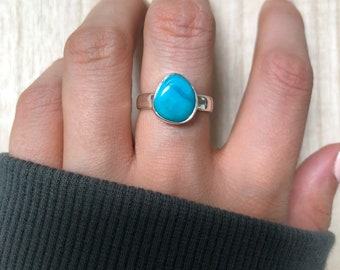 Sterling Silver Turquoise Ring. Size 6