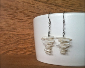 white coral branch earrings