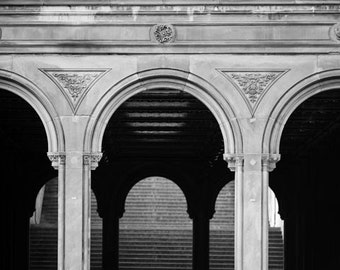 Black and White Photography, Central Park, Bethesda Arches, New York Print, Architecture, New York City Print