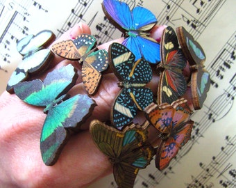 I LOVE BUTTERFLIES, Butterfly ring, adjustable, Choose ABCDEFHI, wooden, by NewellsJewels on etsy