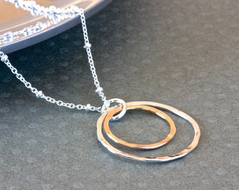 Gold Circle Pendant Necklace, Double Circle Necklace, Silver Chain Necklace, Gold and Silver Necklace, Sterling Silver Jewelry for Her