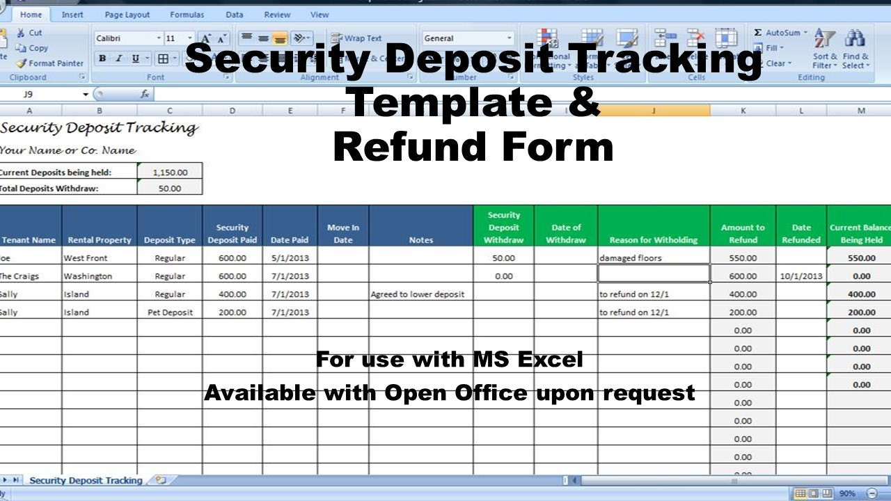 Rental deposit tracking form landlord tenant security deposit zoom thecheapjerseys Images