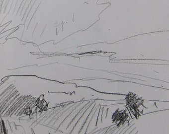 JOSE TRUJILLO California Impressionism Original Charcoal Drawing Study Hills Sky