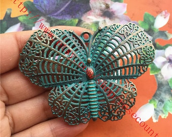Large 8pcs antique bronze 70X50mm Butterfly  charms findings pendants