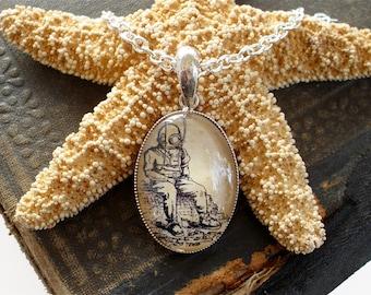 Deep Sea Diver Necklace - Antique Nautical Print Pendant in Silver