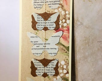 Vintage book paper, wallpaper handmade birthday card
