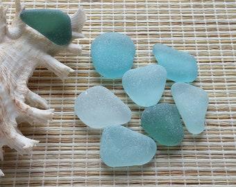 "8 authentic sea glass. Surf tumbled genuine sea glass. Jewelry quality. 0.9-1.1"" beach glass. Blue sea glass  for sea glass pendants #629#"