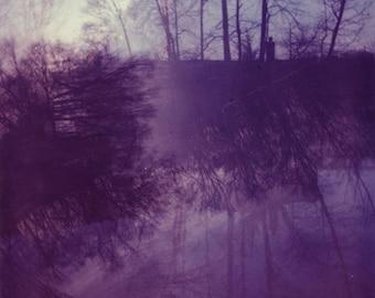 Purple Polaroid Photograph 8x10 dreamy forest trees autumn winter violet amethyst lilac foggy fine art print